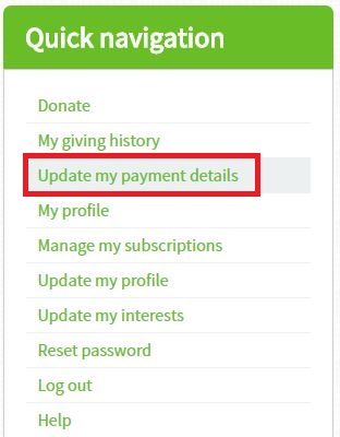 Update payment details 1